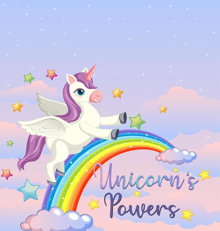 bannière vierge avec licorne et arc en ciel vecteur