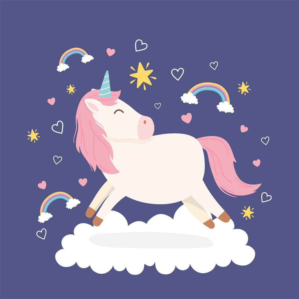 personnage de dessin animé de licorne magique avec des arcs-en-ciel vecteur