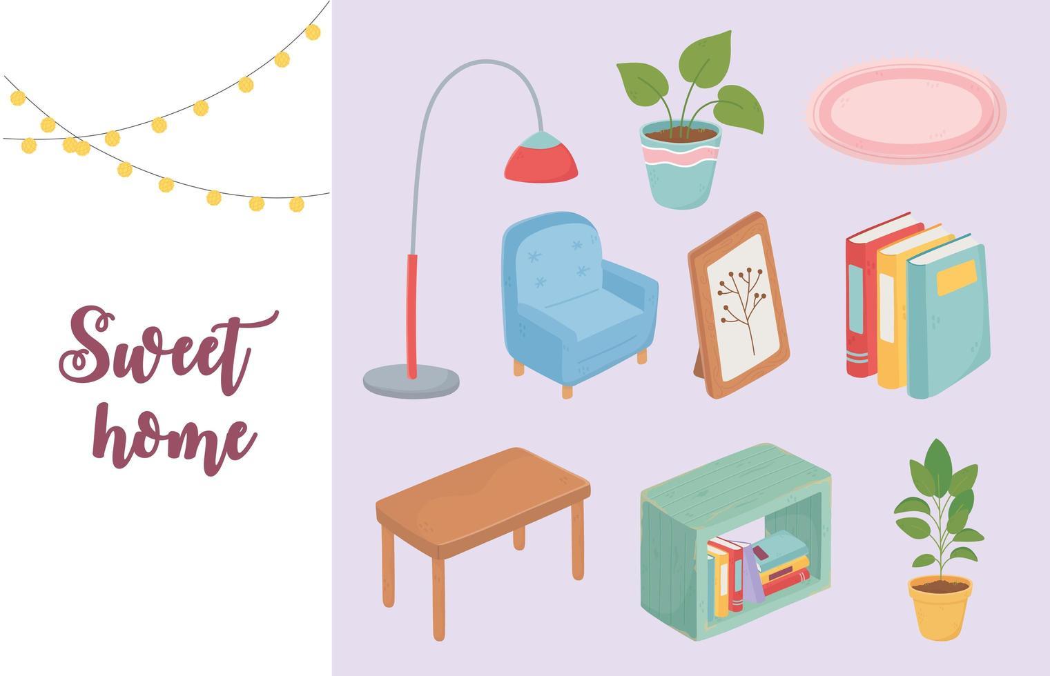 ensemble d'icônes de meubles et de décoration de maison douce vecteur