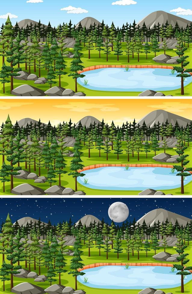 ensemble de scènes de paysage de forêt et de montagne vecteur