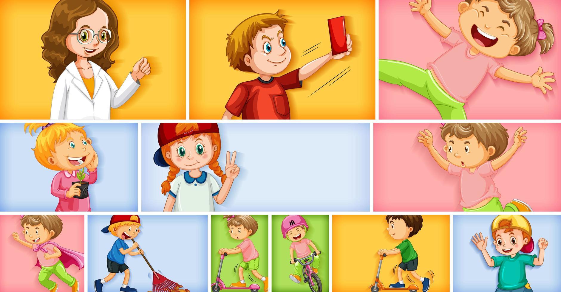 ensemble de différents personnages enfant sur fond de couleur différente vecteur