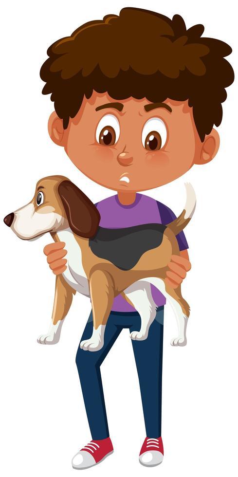 garçon tenant un personnage de dessin animé animal mignon isolé sur fond blanc vecteur
