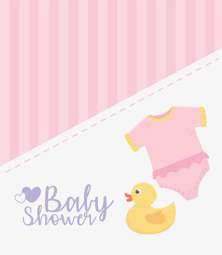 carte rose de douche de bébé avec des icônes de bébé vecteur