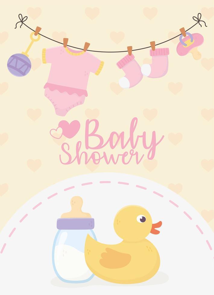 carte jaune de douche de bébé avec des icônes de bébé vecteur