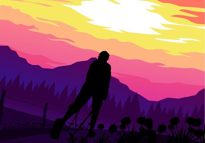 Sunset Nordic Walking vecteur gratuit