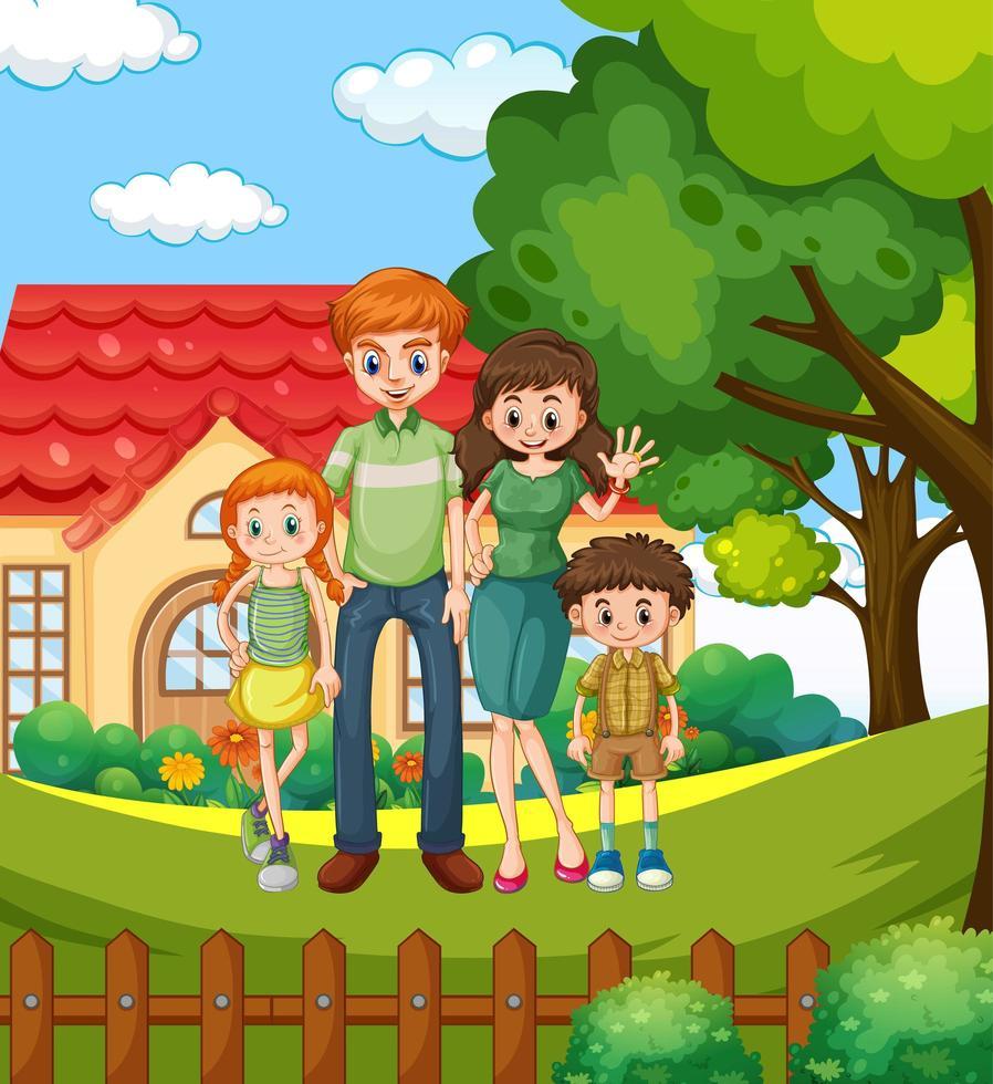 scène avec des gens devant la maison vecteur
