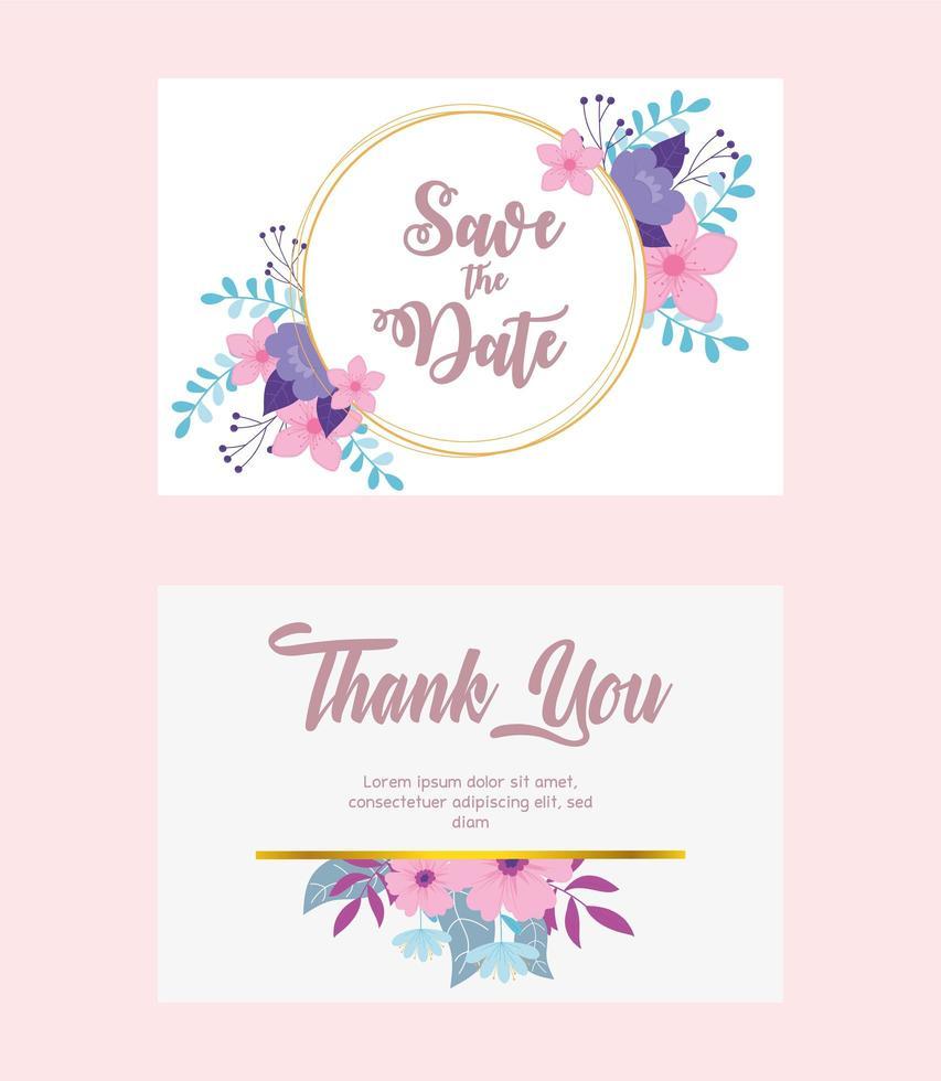 ensemble de cartes de mariage floral élégant vecteur