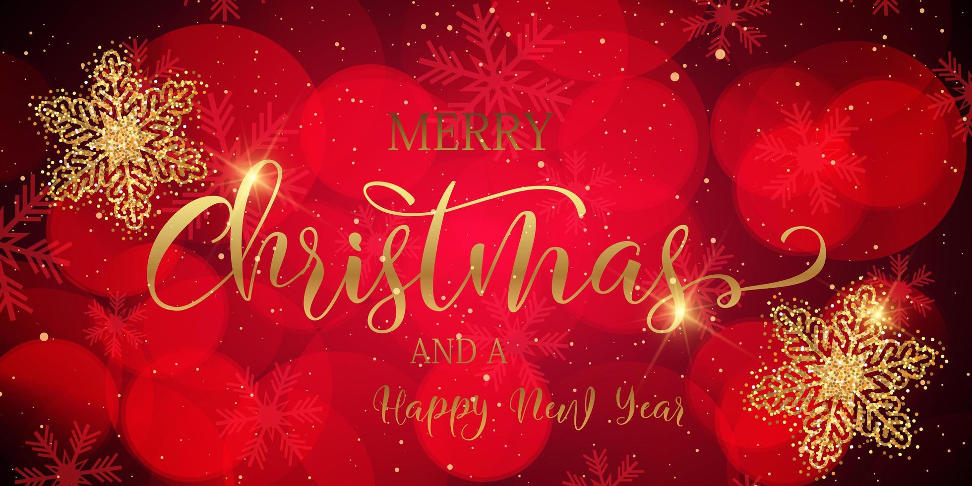 bannière de Noël avec des flocons de neige scintillants et du texte décoratif vecteur