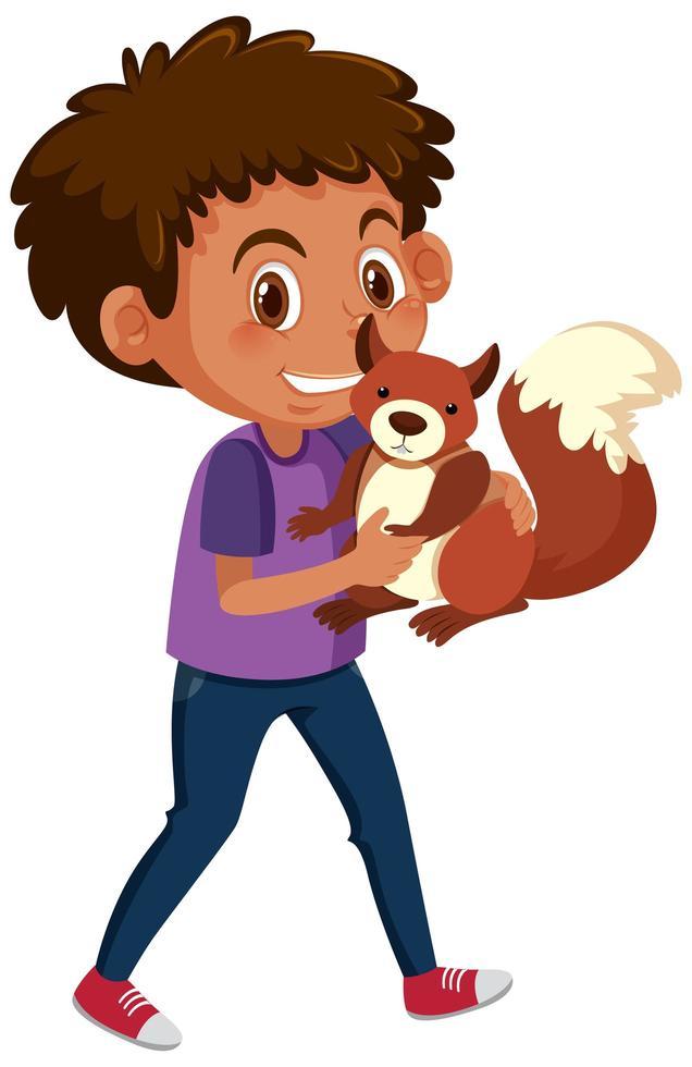 garçon tenant un écureuil vecteur