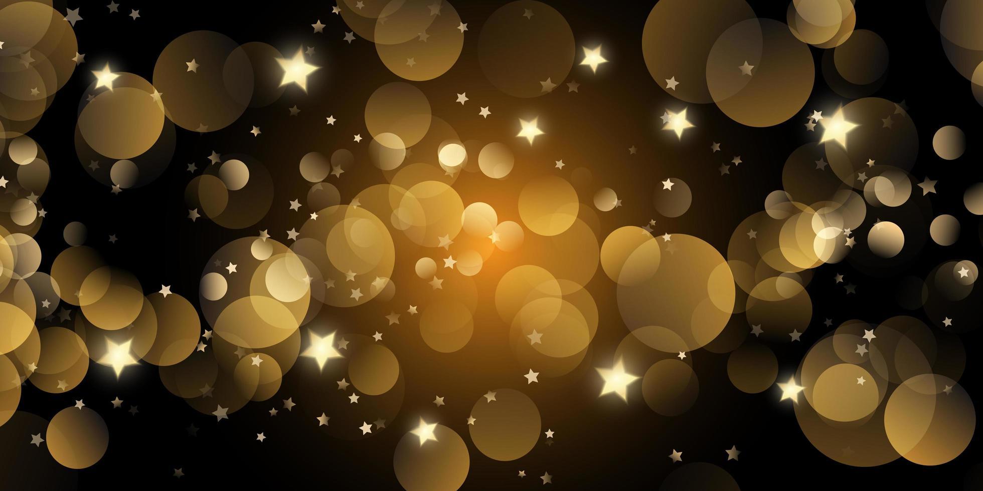 bannière de noël avec des lumières bokeh et des étoiles vecteur