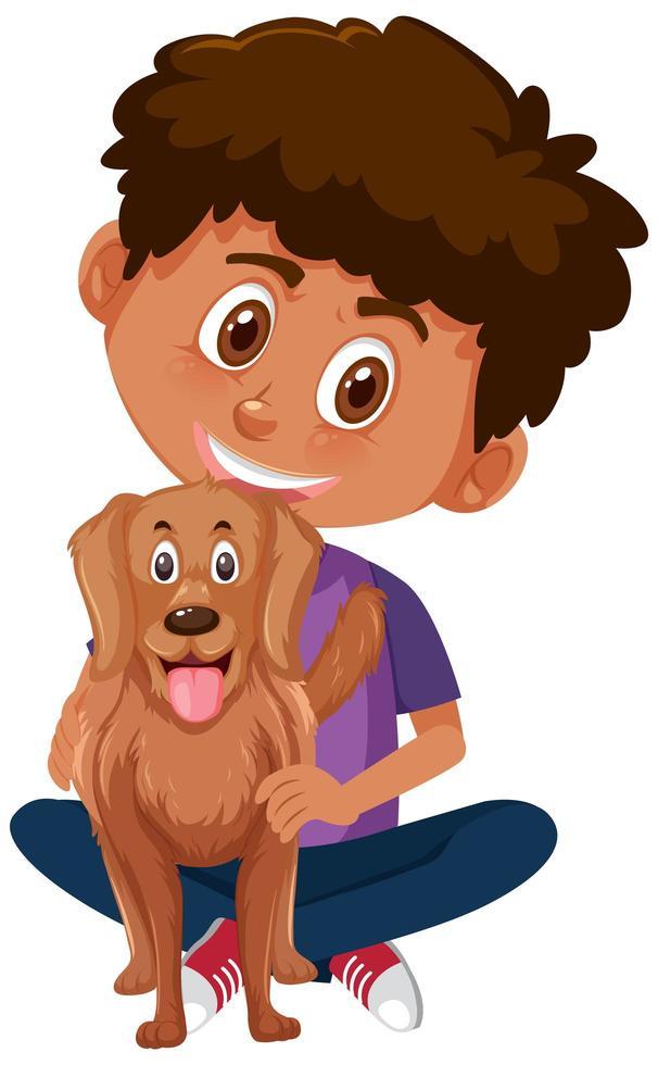 garçon tenant un chien vecteur