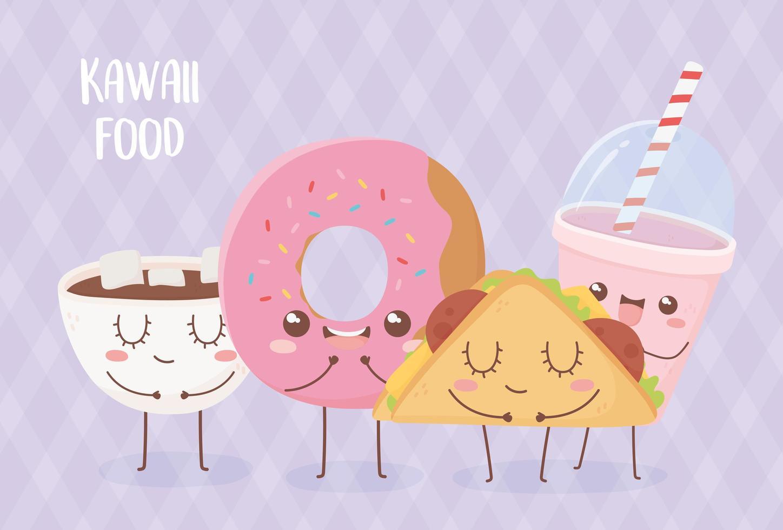 Composition de personnages de dessins animés de nourriture kawaii vecteur