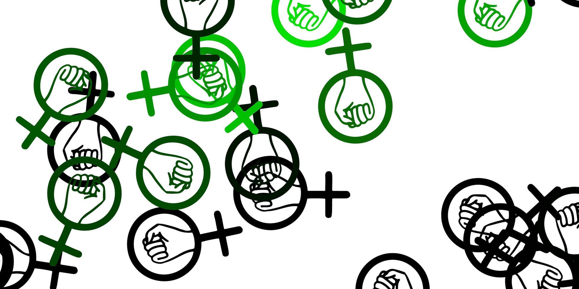motif vert avec des éléments de féminisme. vecteur