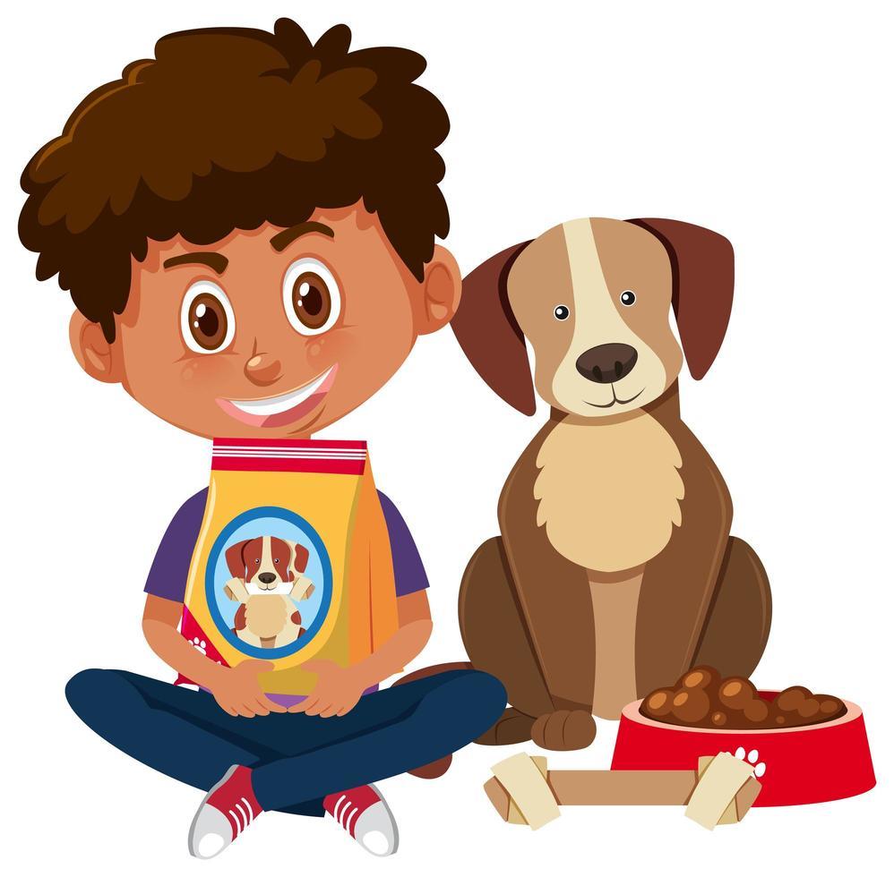 garçon tenant de la nourriture pour chien avec chien mignon vecteur