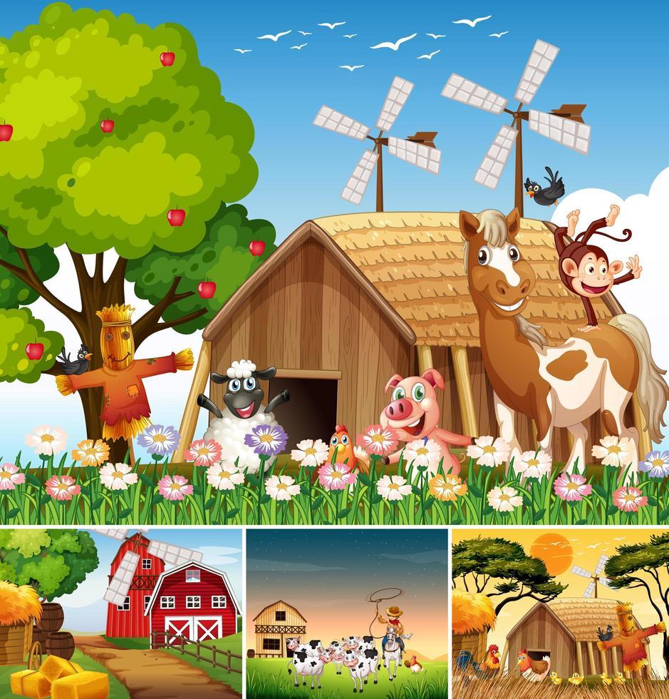 ensemble de différentes scènes de ferme et grange vecteur