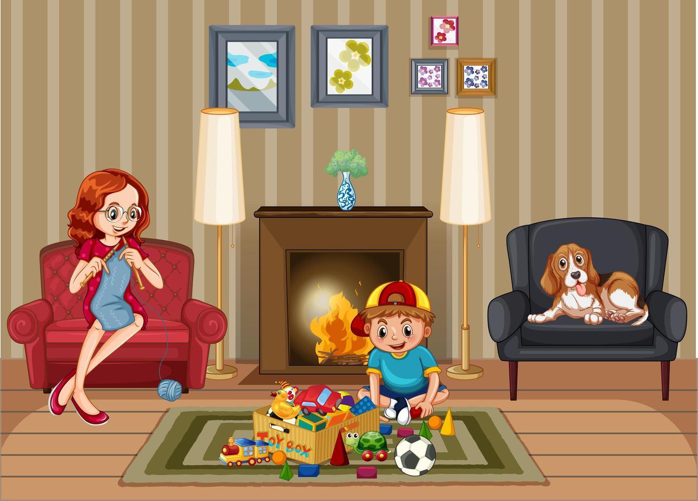 scène avec famille se détendre dans le salon vecteur