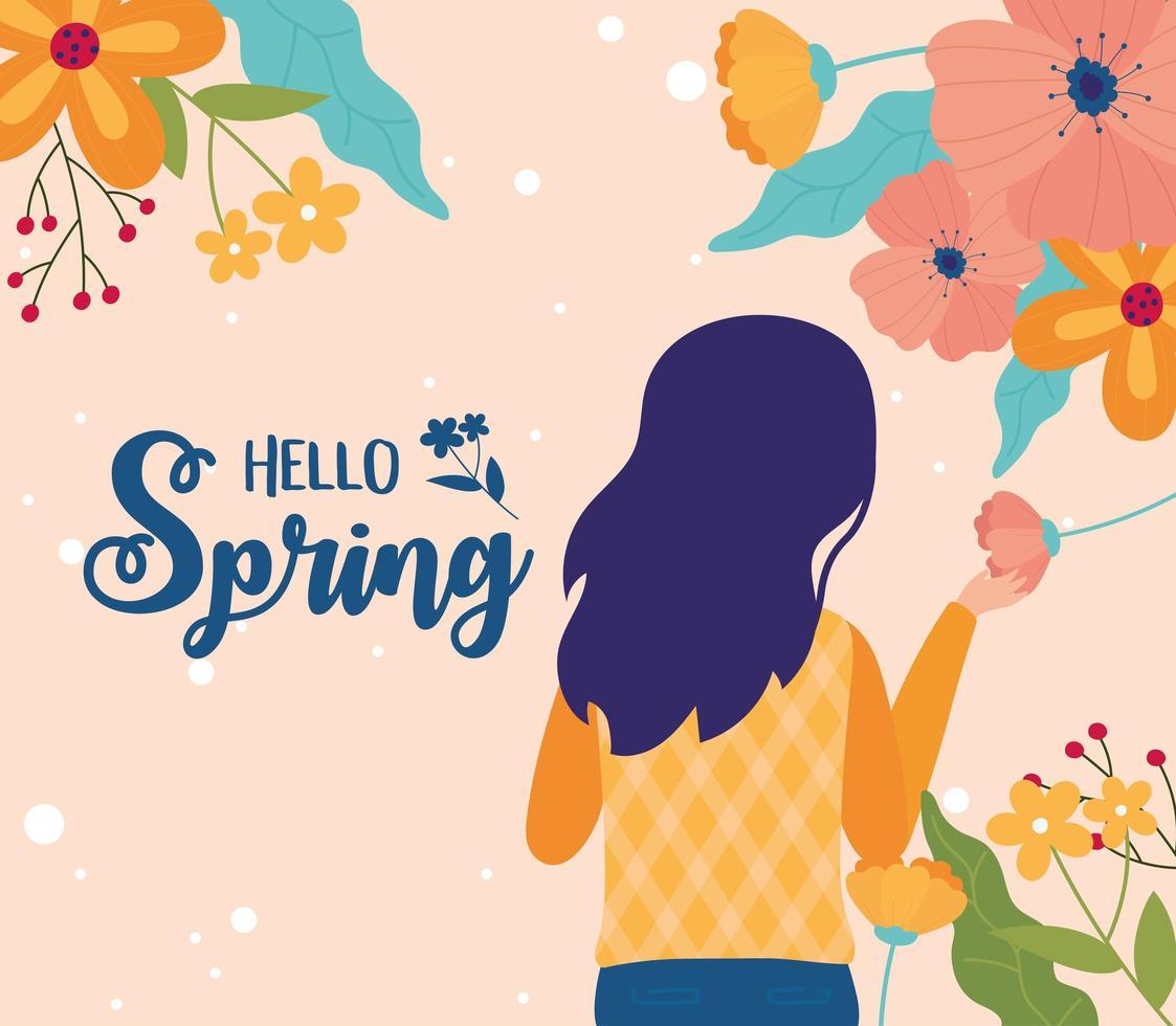 bonjour bannière de célébration de printemps avec femme et fleurs vecteur
