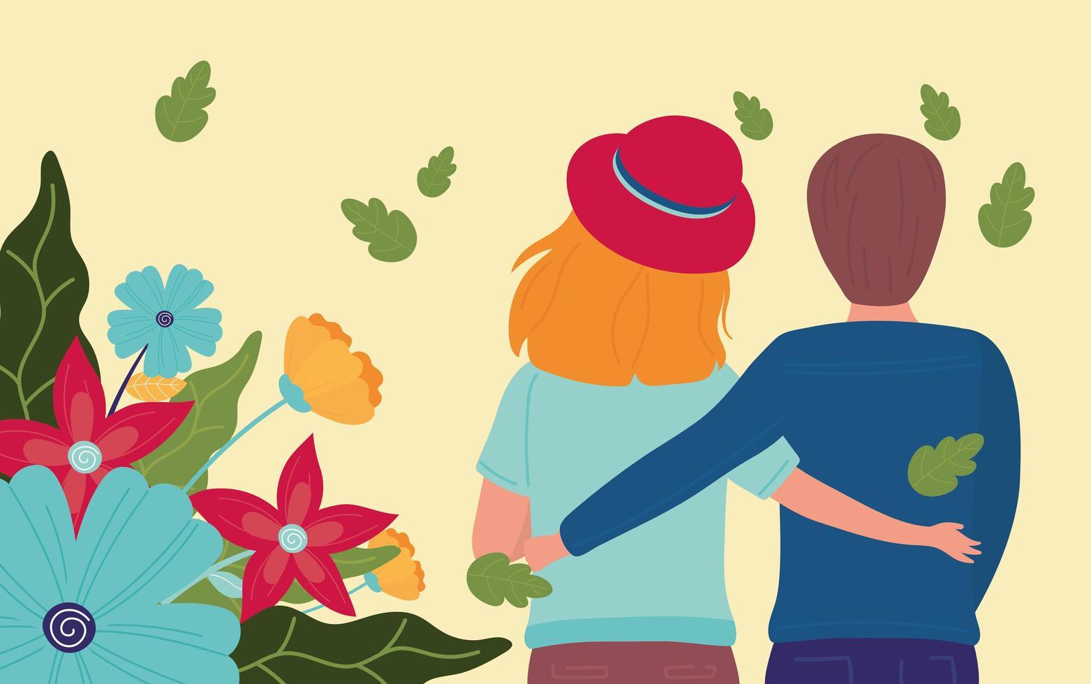 bannière de célébration de printemps avec couple et fleurs vecteur