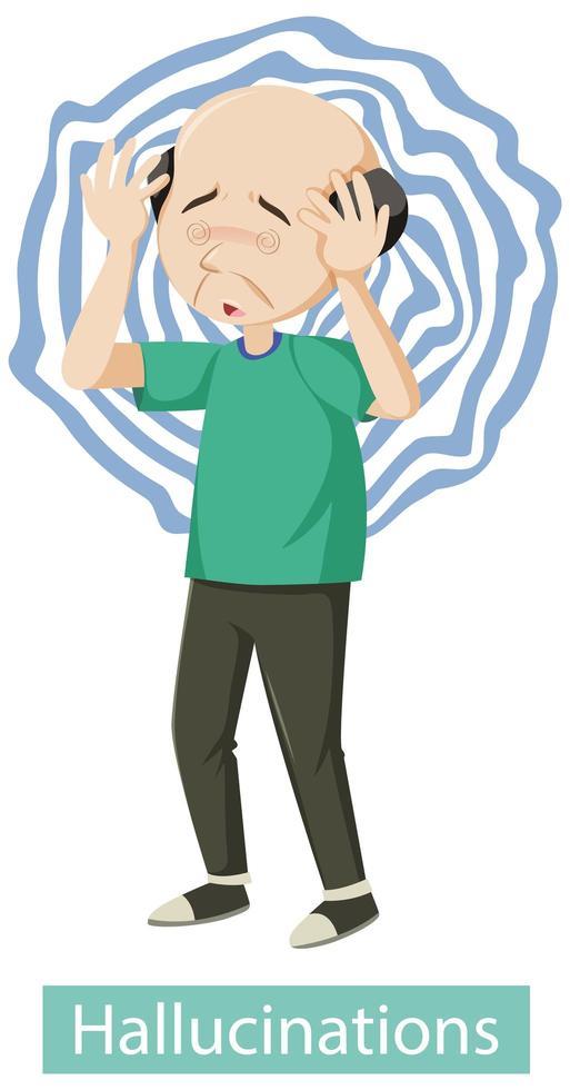 affiche médicale montrant le symptôme des hallucinations vecteur