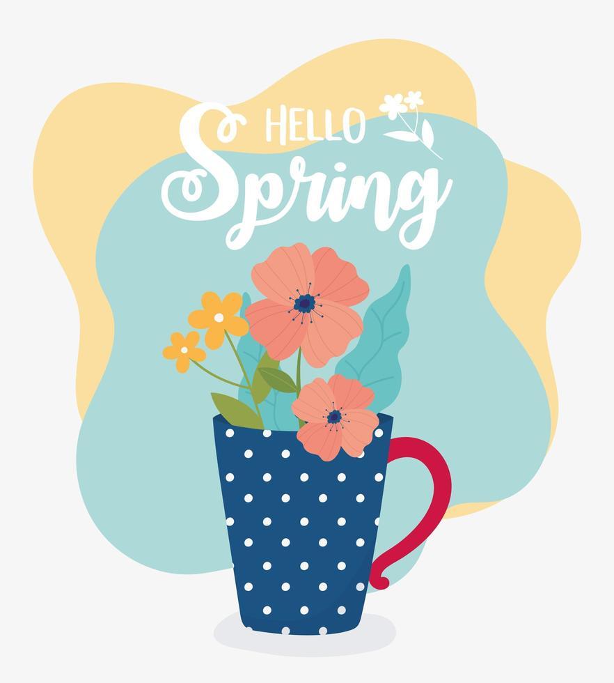 bonjour bannière de célébration du printemps vecteur