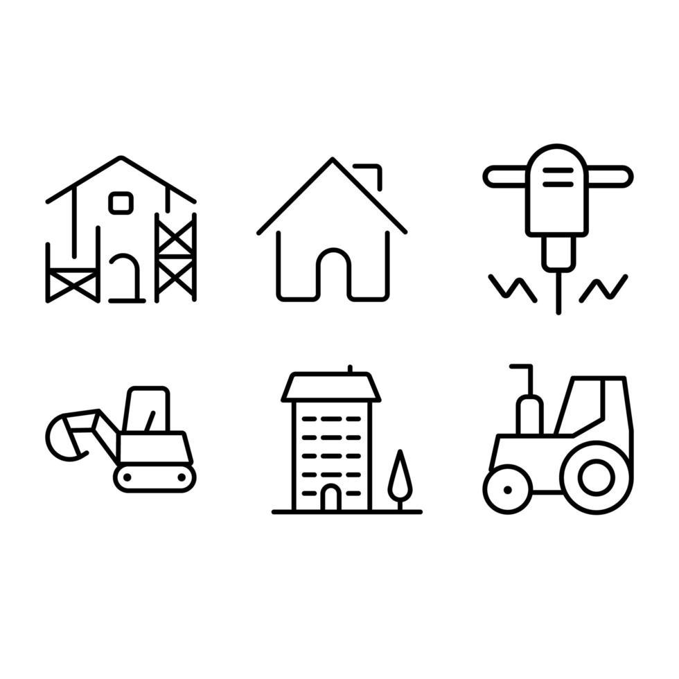 jeu de conception d & # 39; icônes de construction vecteur