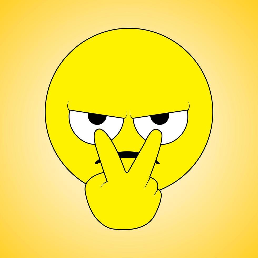 fixant avec colère un emoji plat vecteur