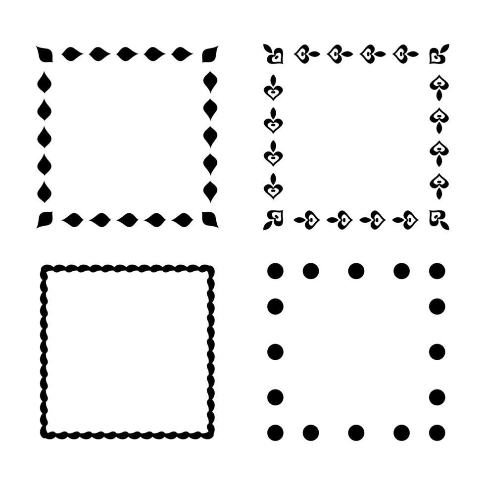 bordure décorative ensemble de 4 bordures vecteur