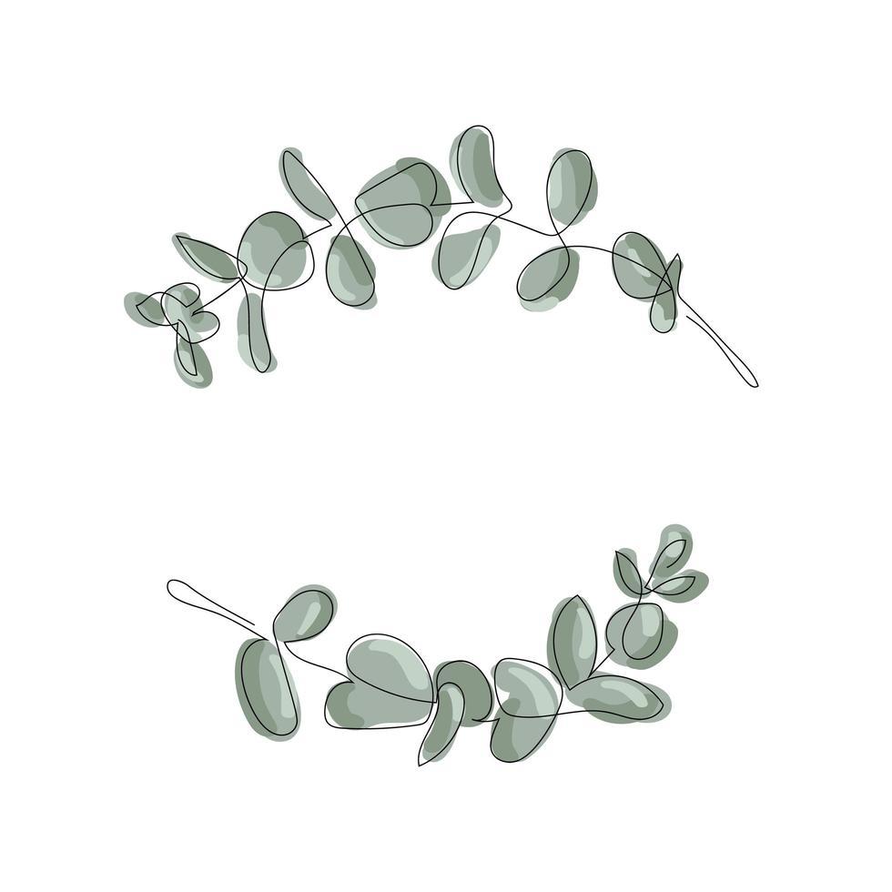 Cadre de feuilles d'eucalyptus sur fond blanc vecteur