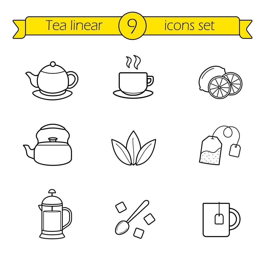 thé, jeu d'icônes linéaires vecteur