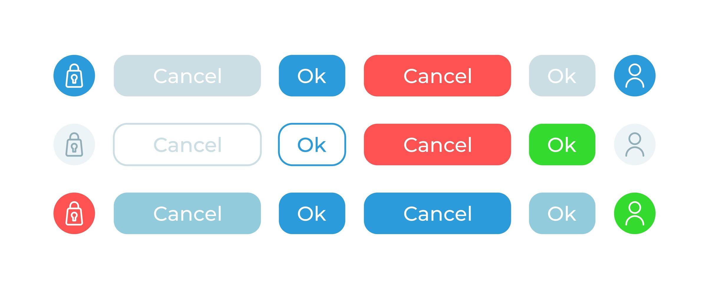 confirmer les options, kit d'éléments d'interface utilisateur vecteur
