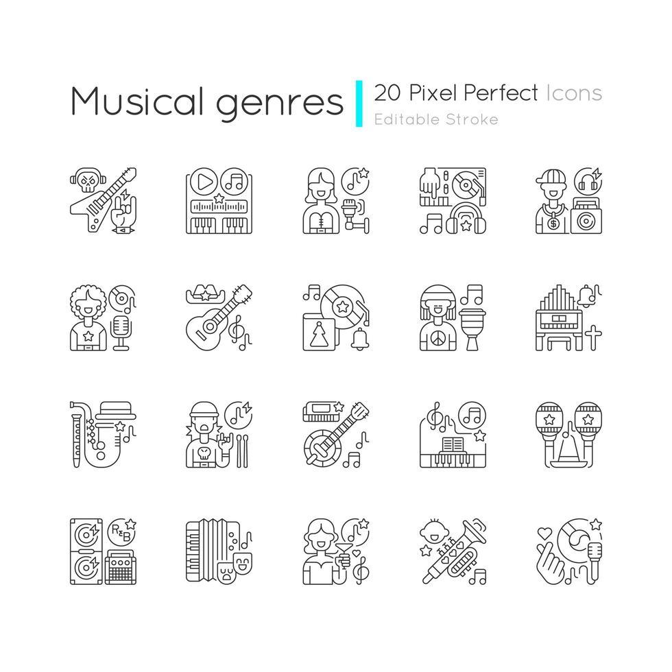 genres musicaux, jeu d'icônes linéaires vecteur