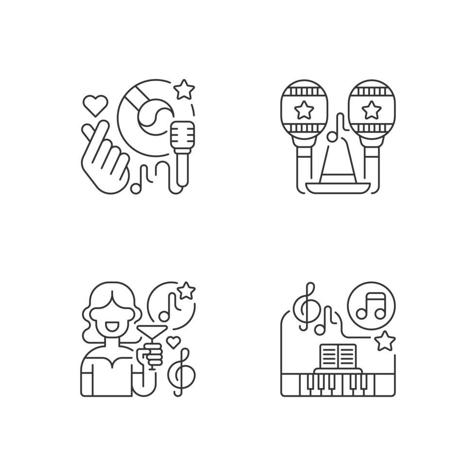 idées de chansons de fête, jeu d'icônes vecteur