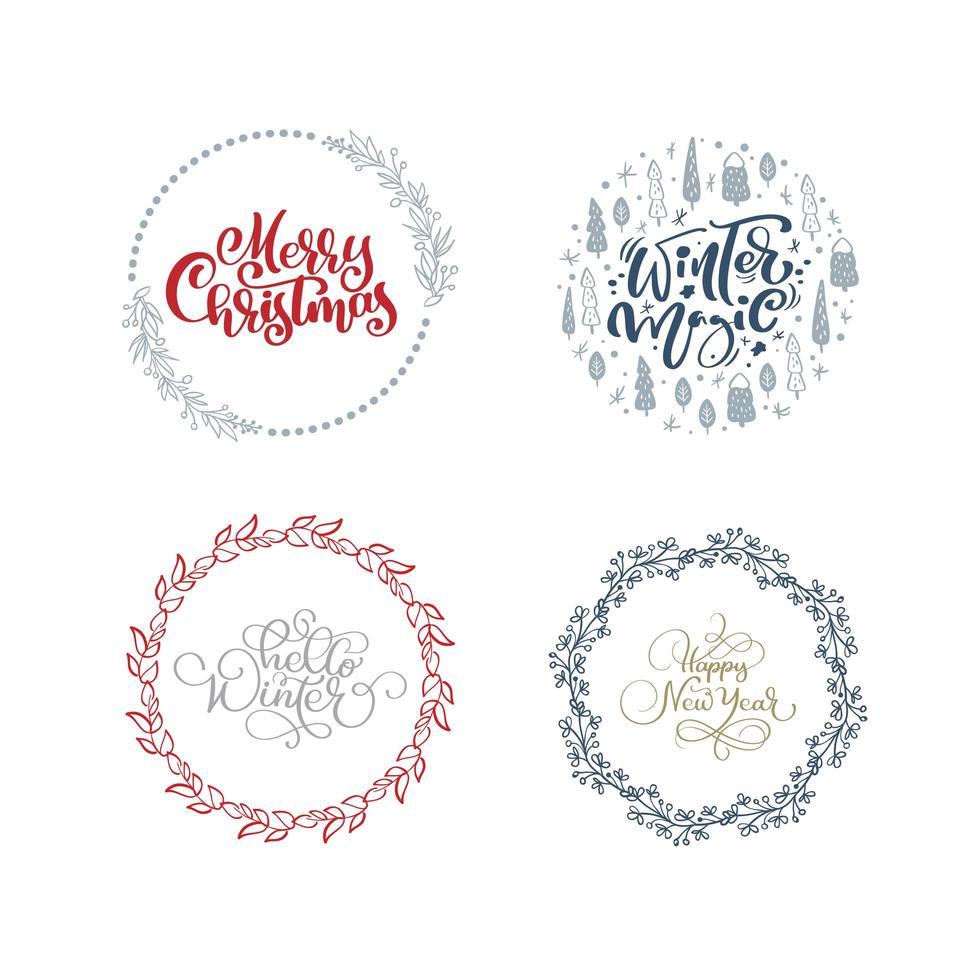 ensemble de couronnes et de bordures de Noël dessinés à la main vecteur