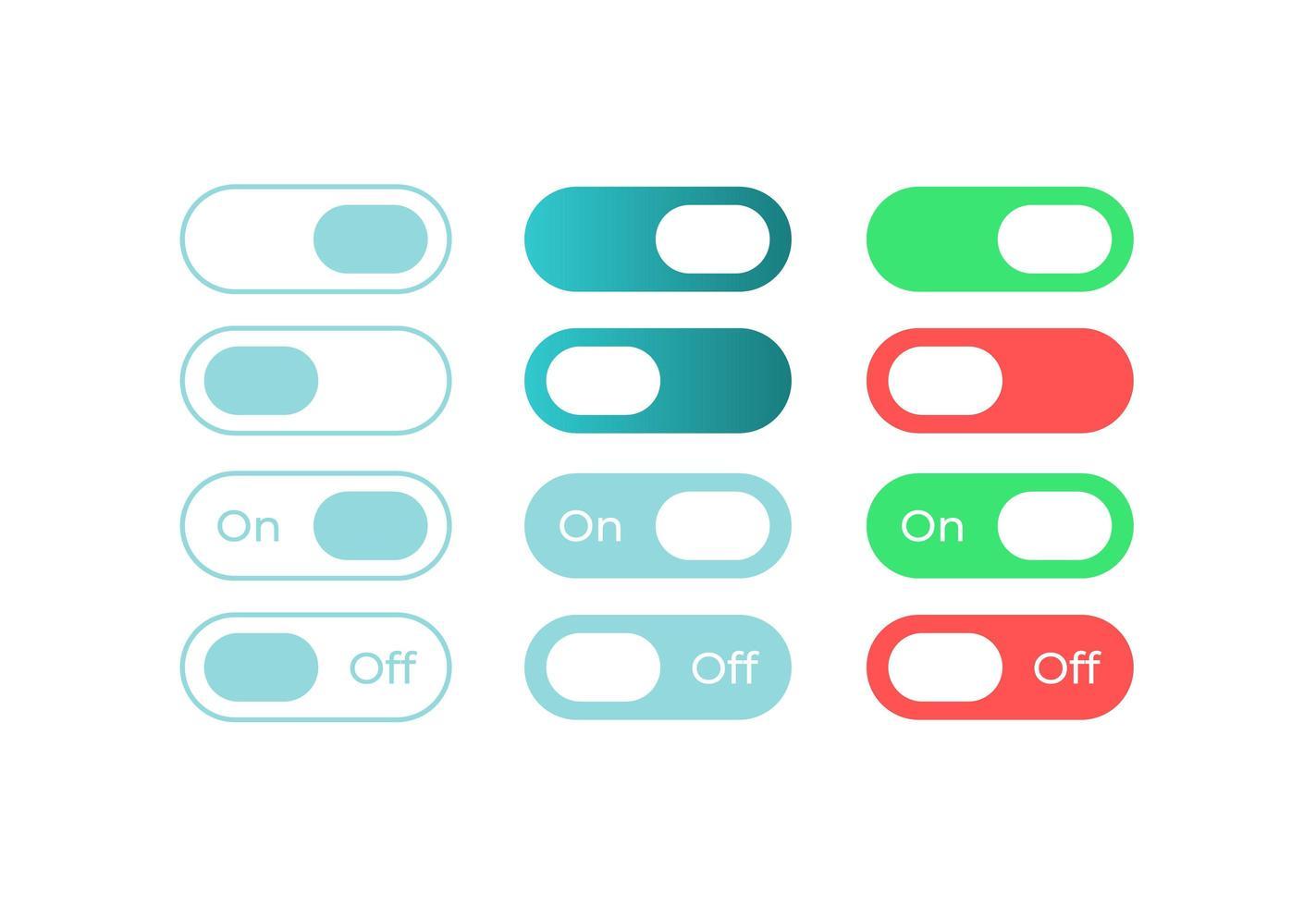 commutateurs colorés, kit d'éléments d'interface utilisateur vecteur