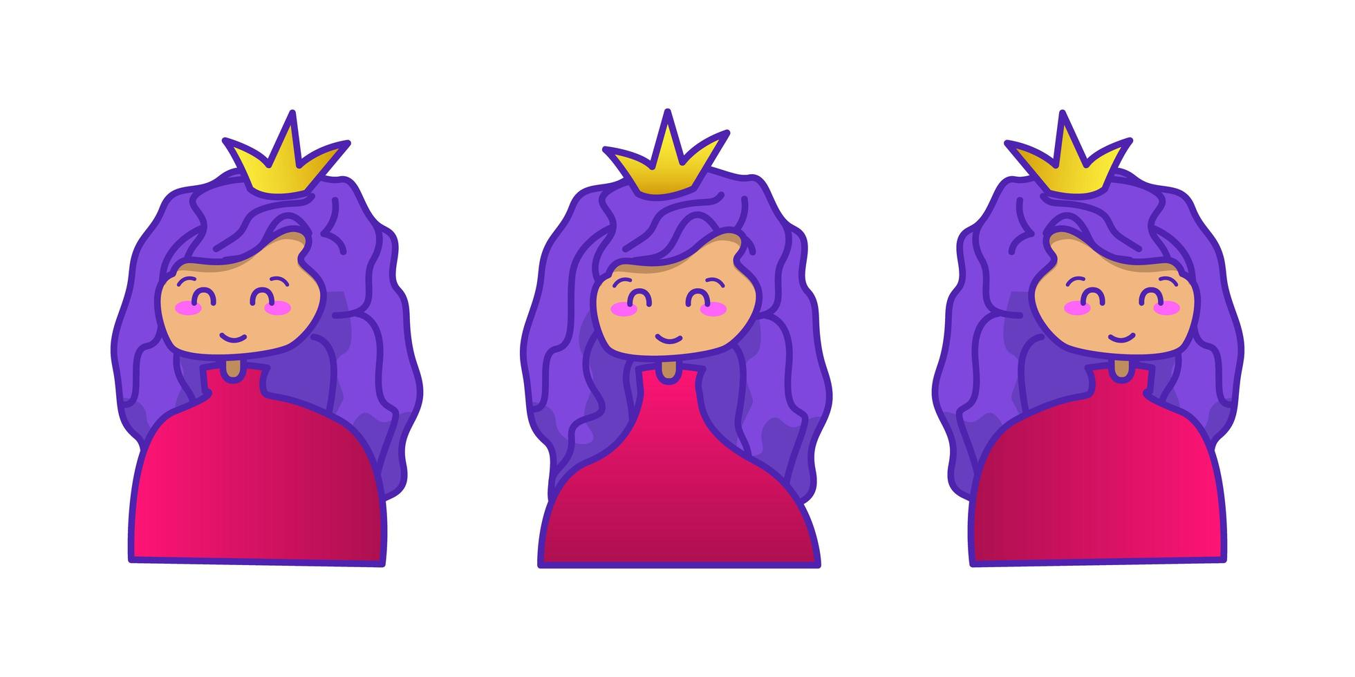 ensemble de dessin animé princesse dessiné à la main vecteur