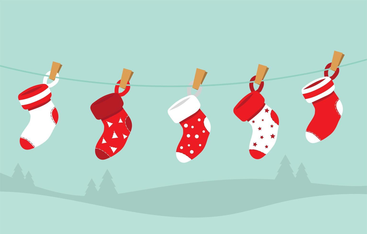 chaussettes de noël pour la décoration vecteur