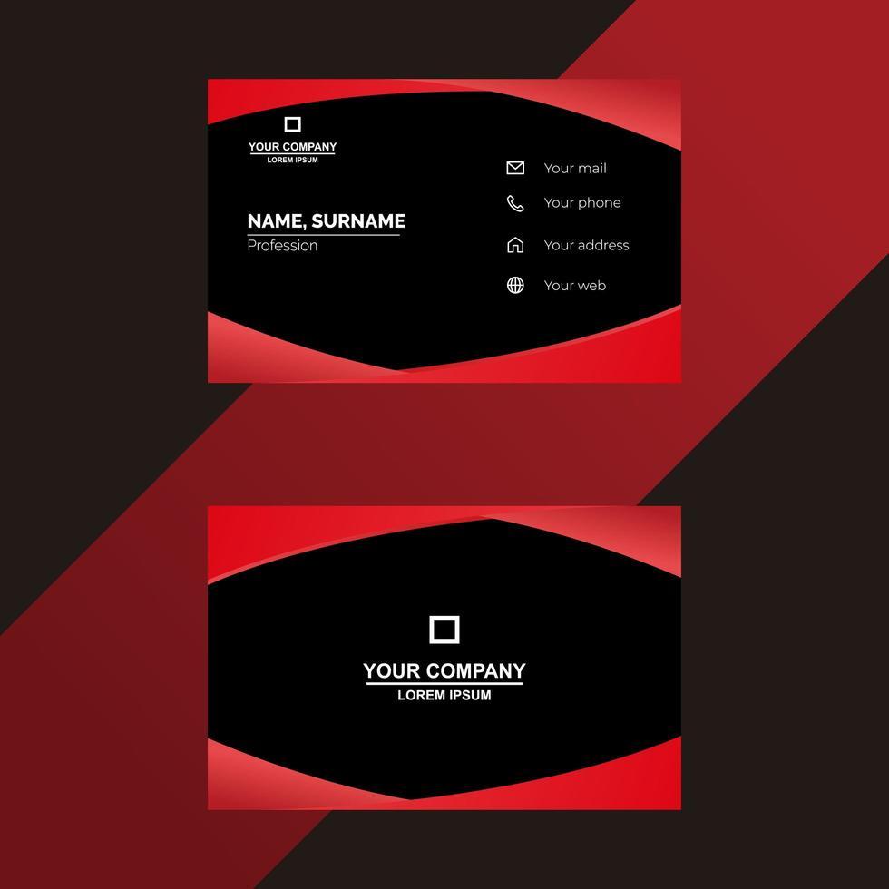 modèle de carte de visite rouge et noir vecteur