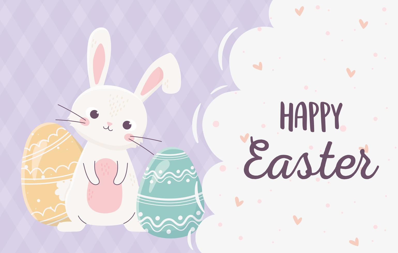 joyeuses fêtes de pâques avec lapin et oeufs vecteur