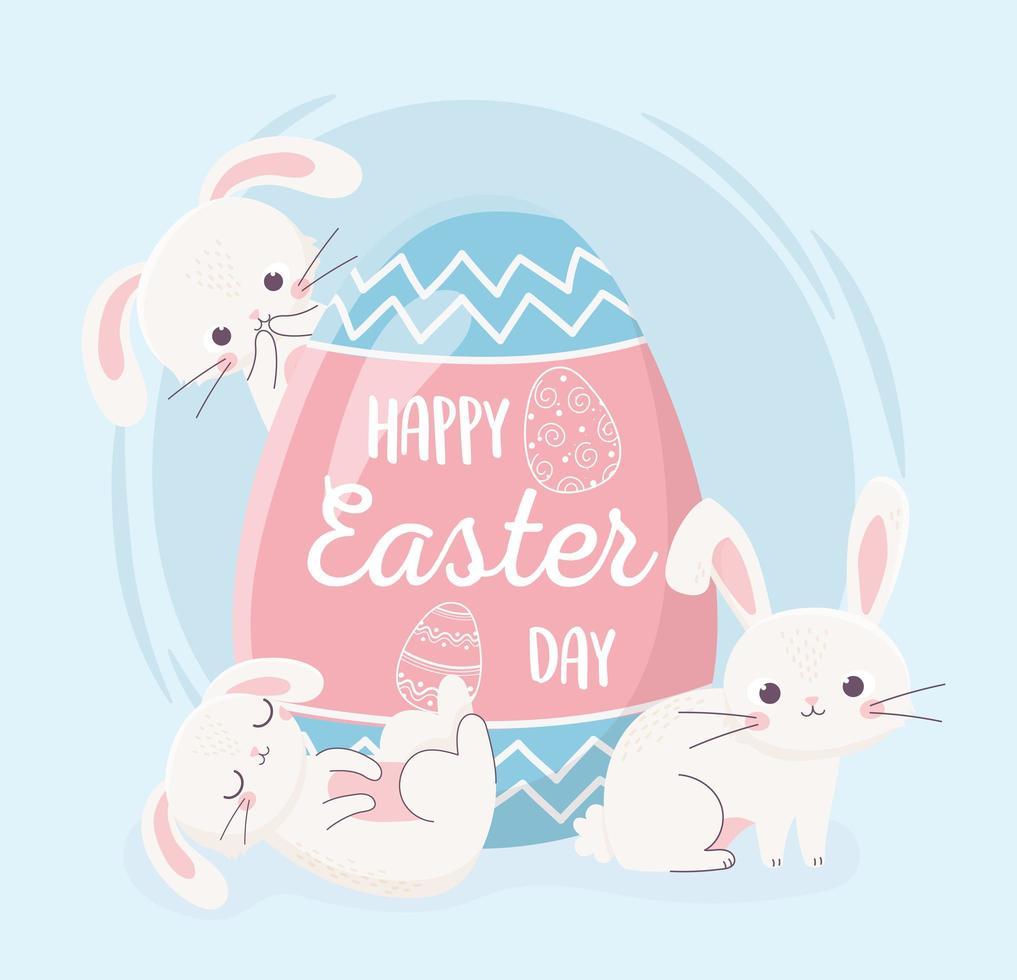 lapins mignons et oeuf pour la célébration du jour de pâques vecteur