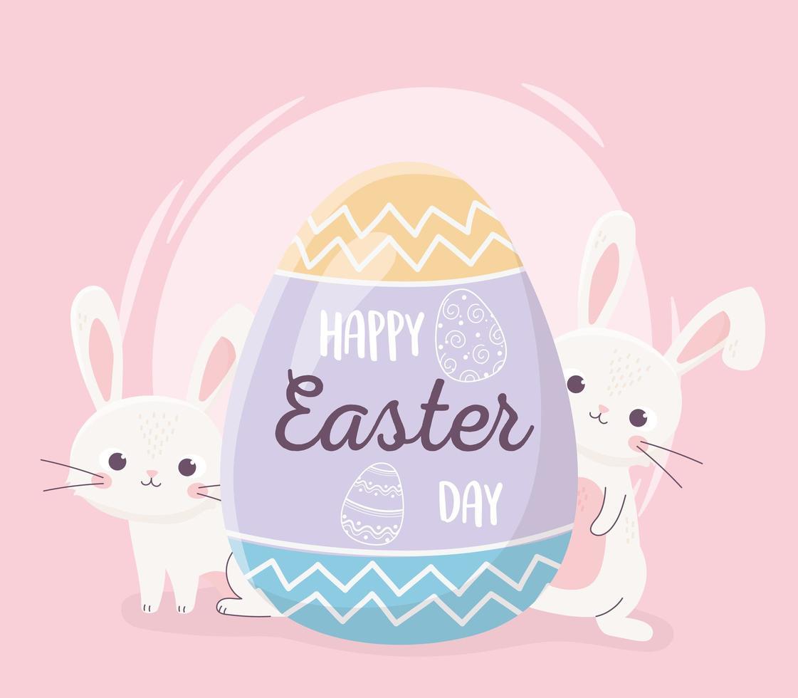 joyeuses fêtes de Pâques avec des lapins et des oeufs vecteur