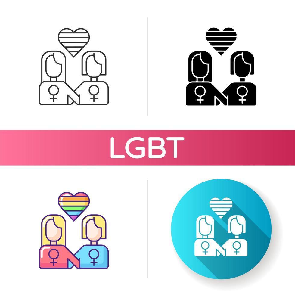 icônes de relations lesbiennes vecteur