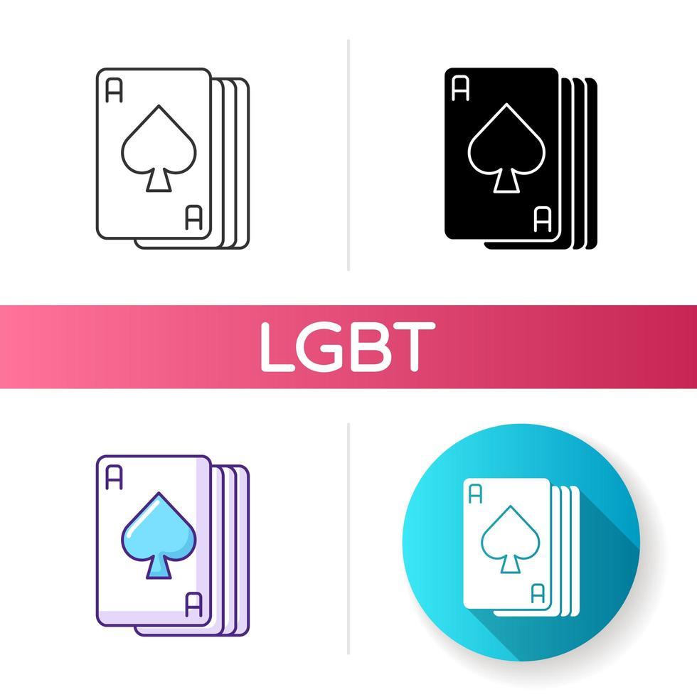 jeu d'icônes de cartes ace vecteur