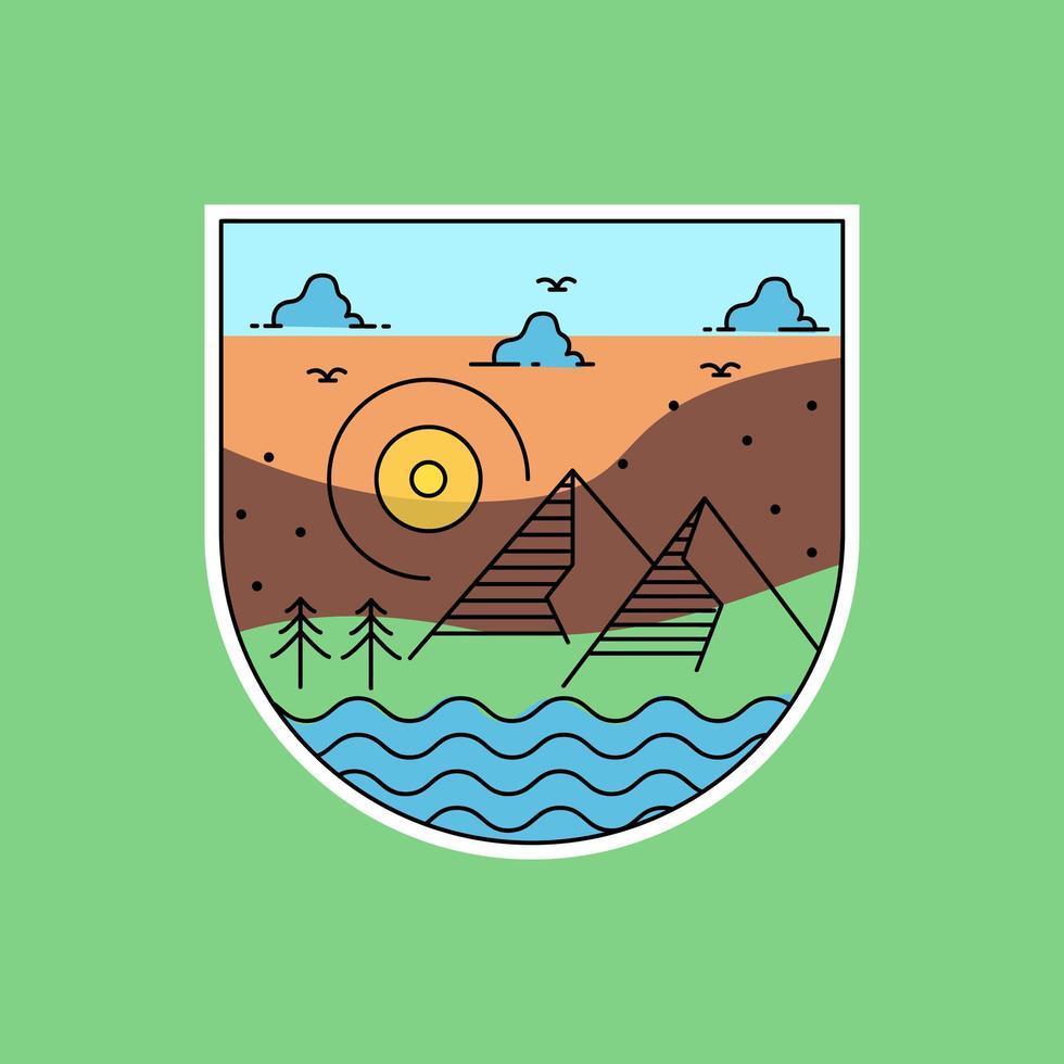 conception d'insigne de paysage monoline vecteur