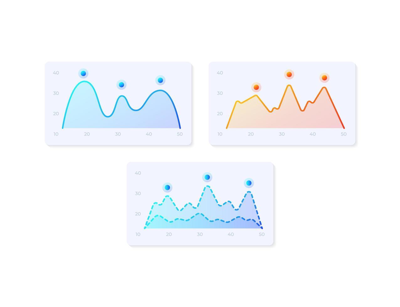 infocharts, kit d'éléments d'interface utilisateur vecteur