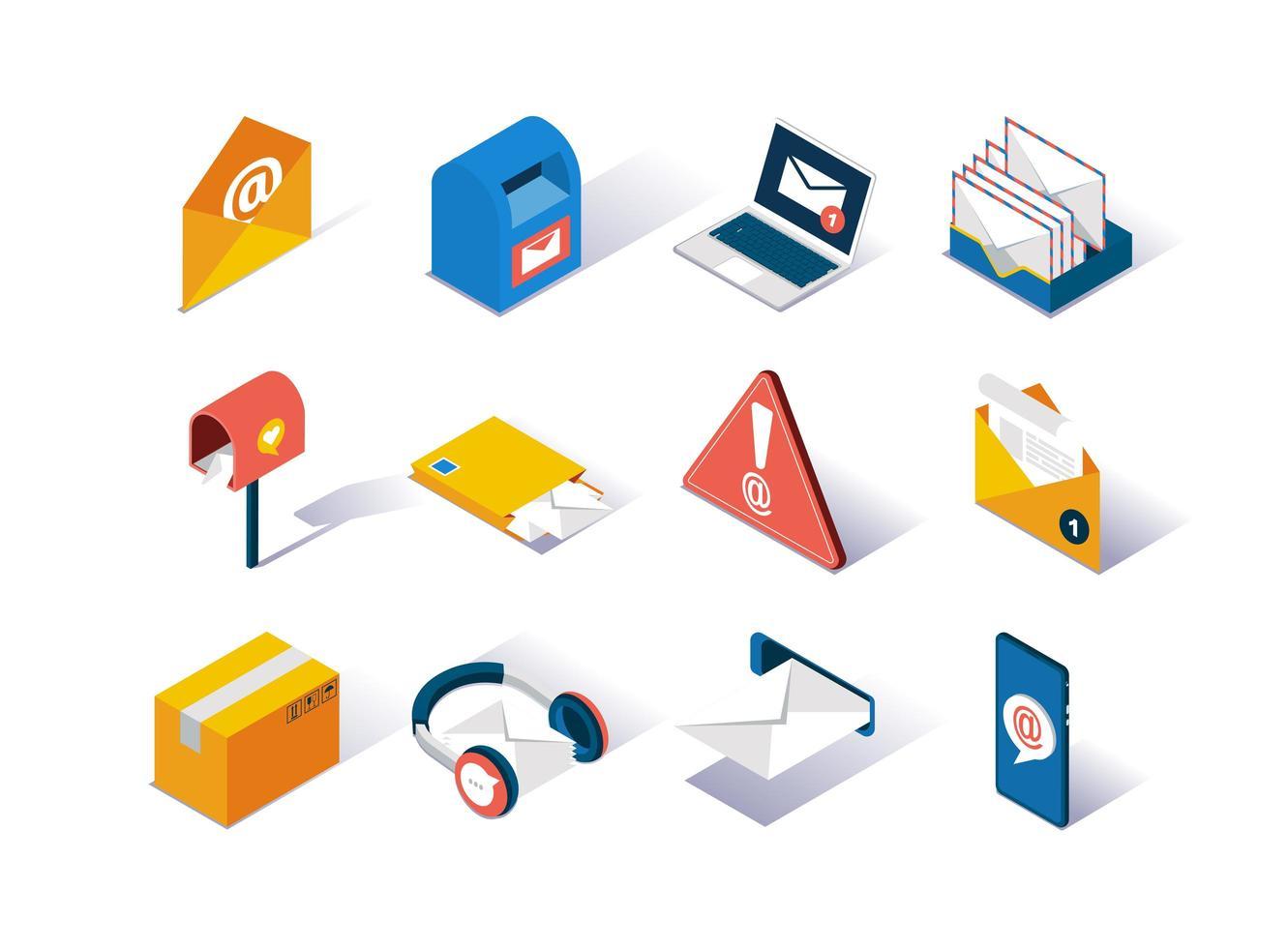 ensemble d & # 39; icônes isométriques de fournisseur de services de messagerie vecteur