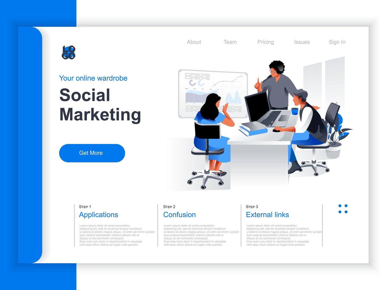 page de destination isométrique de marketing social vecteur