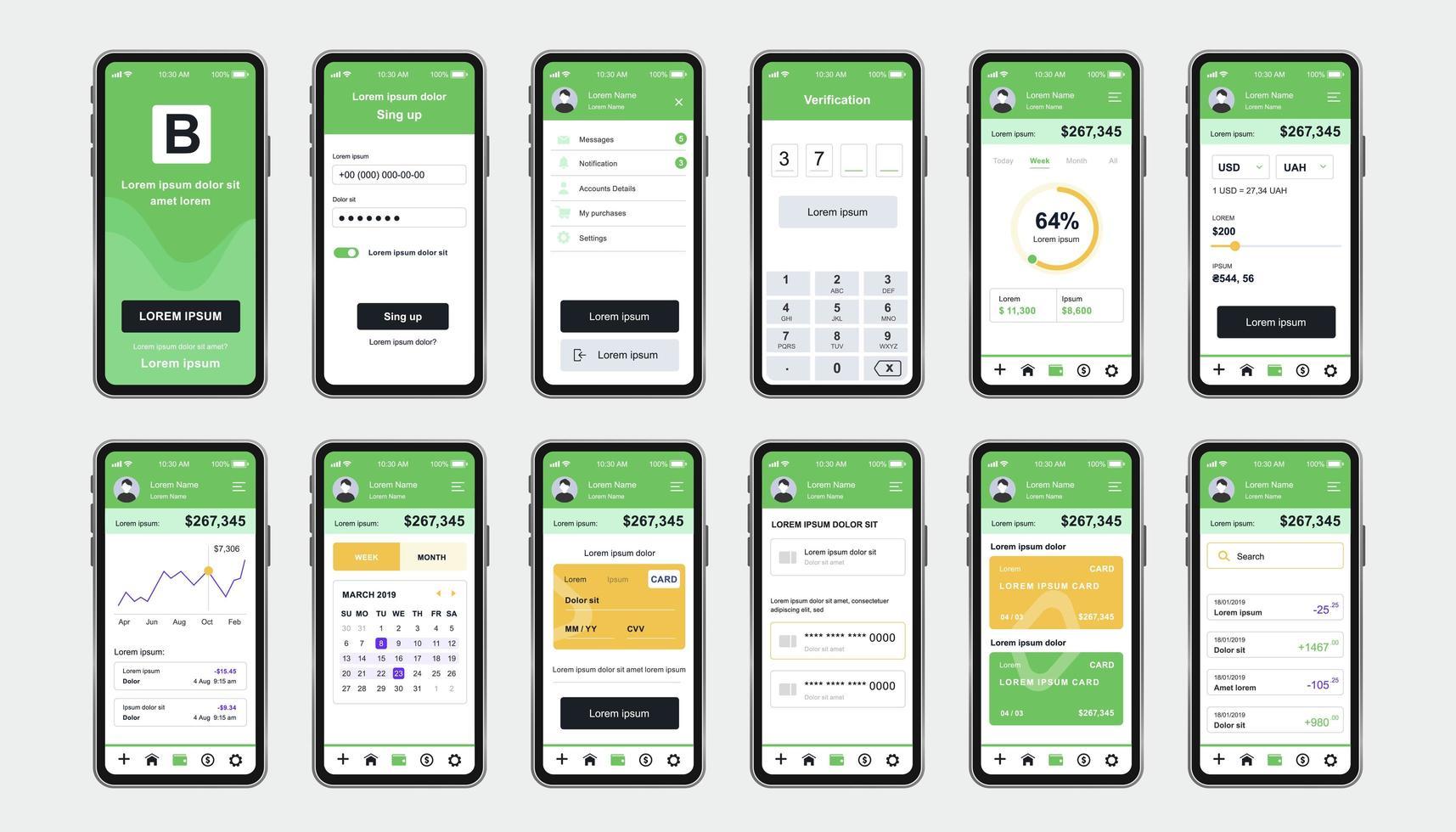 kit de conception unique de banque en ligne pour application vecteur