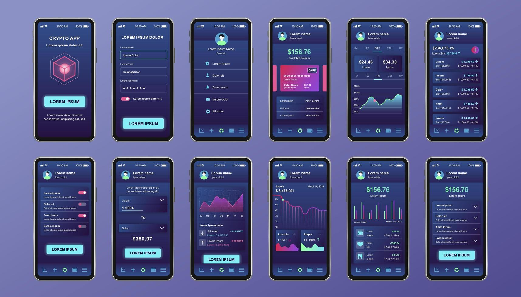 kit de conception unique de crypto-monnaie pour application mobile vecteur