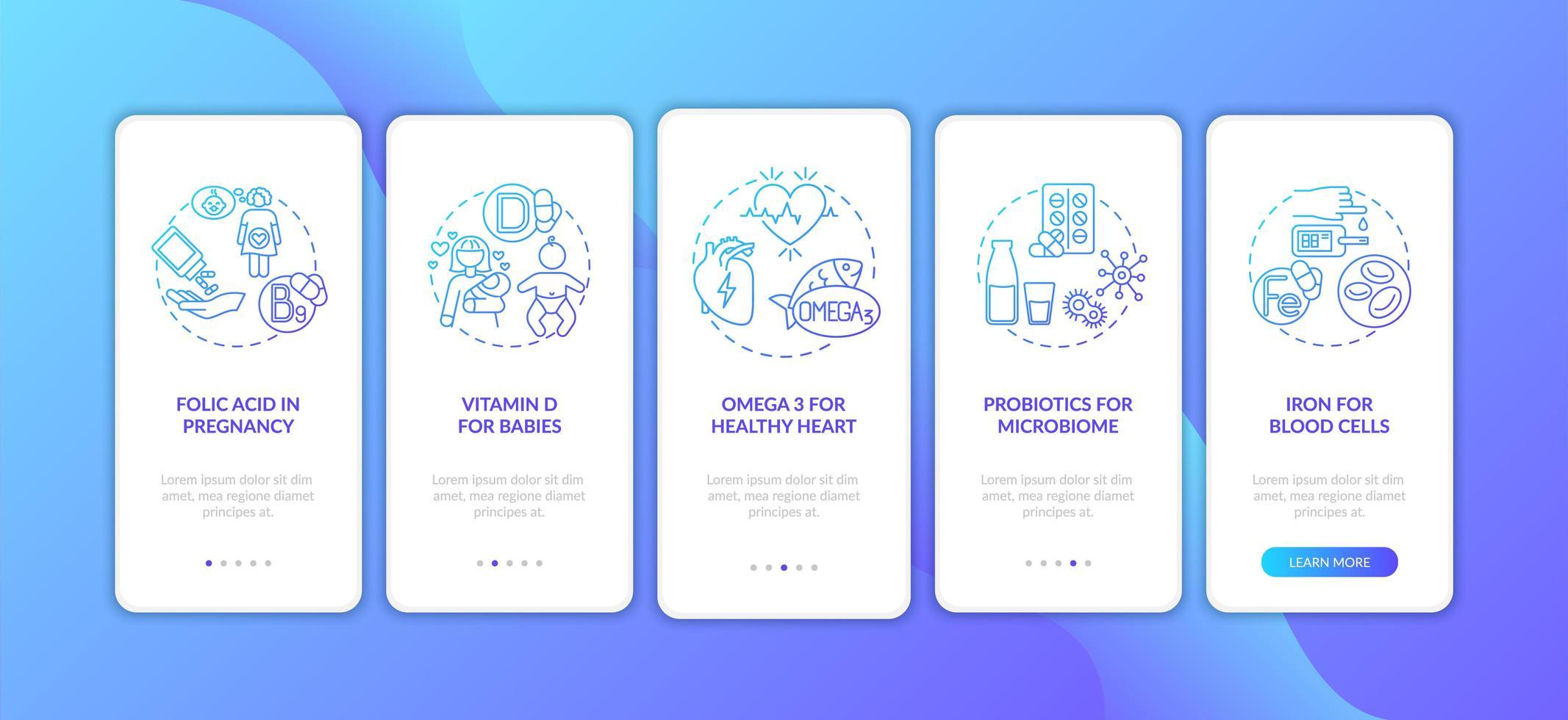 suppléments essentiels, concepts d'écran d'application mobile vecteur