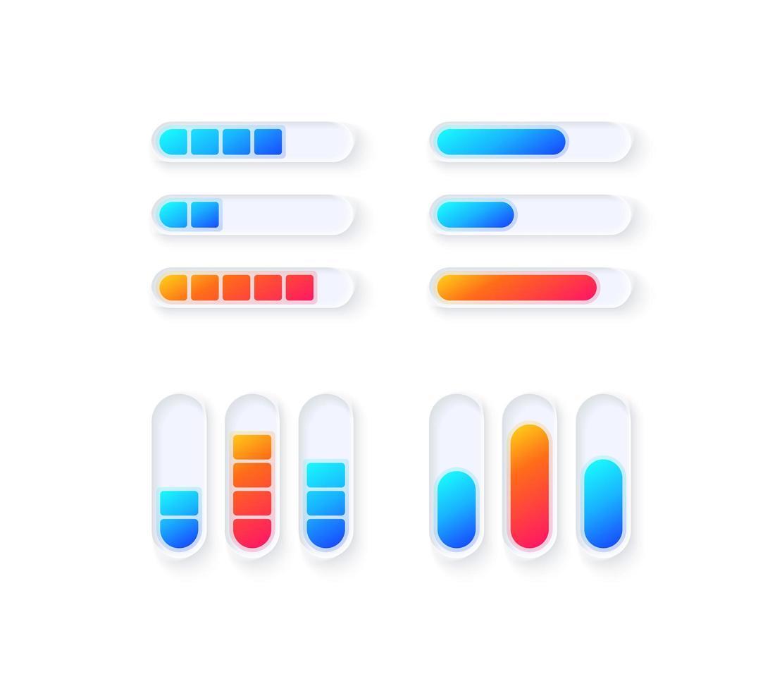 niveaux de jauge, kit d'éléments d'interface utilisateur vecteur